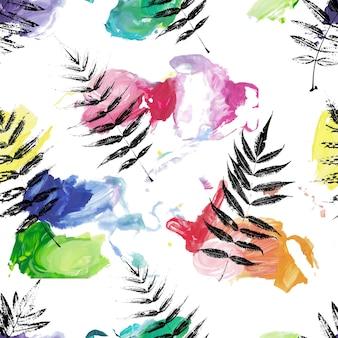 Modèle sans couture avec feuillage silhouette et vecteur de coups de pinceau de peinture acrylique couleur