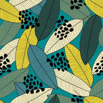 Modèle sans couture de feuille de bananier contour