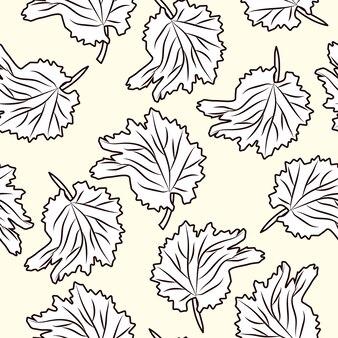 Modèle sans couture de feuille dessinée à la main. feuilles monochromes style vintage gravé. toile de fond de style gravure. conception pour papier d'emballage, impression textile. illustration vectorielle