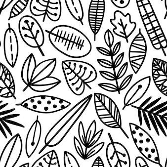 Modèle sans couture de feuille mignon. élégant ornement de belle nature pour le tissu, l'emballage et le textile. papier scrapbook noir et blanc