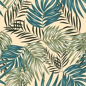 Modèle sans couture de feuille de palmier tropical