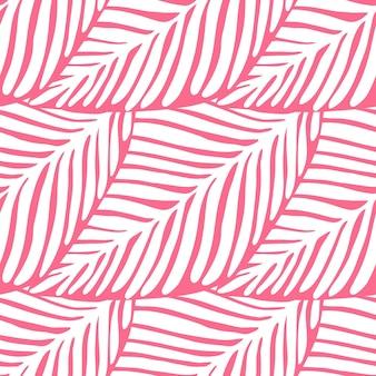 Modèle sans couture de feuille rose abstraite. plante exotique. motif tropical, feuilles de palmier fond floral vectorielle continue.