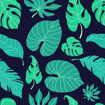 Modèle sans couture de feuille tropicale