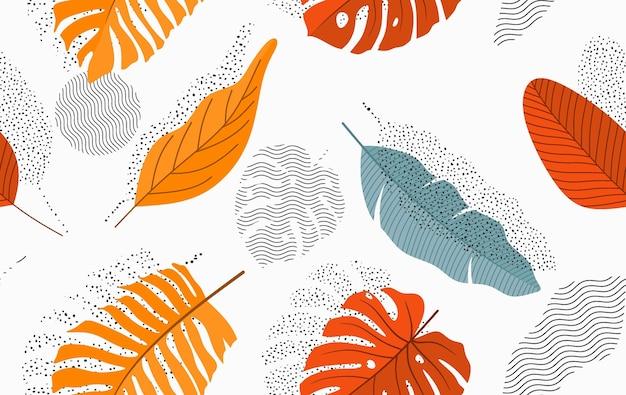 Modèle sans couture avec feuilles abstraites.
