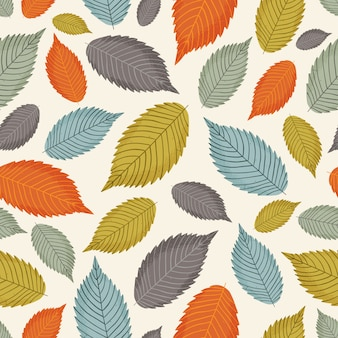 Modèle sans couture avec des feuilles d'automne colorées