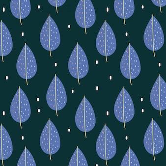 Modèle sans couture avec les feuilles bleues de l'automne