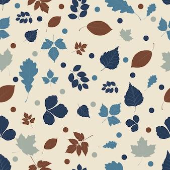Modèle sans couture en feuilles bleues et brunes