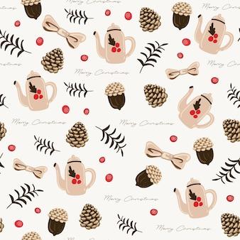 Modèle sans couture avec feuilles, bol, bouilloire et pommes de pin séchées