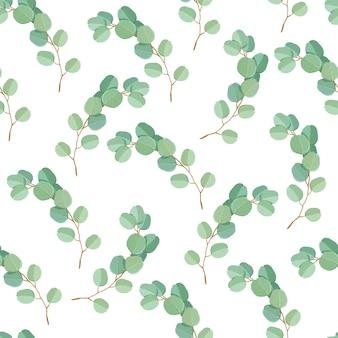 Modèle sans couture de feuilles et de branches d'eucalyptus vert