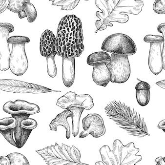 Modèle sans couture de feuilles et de champignons