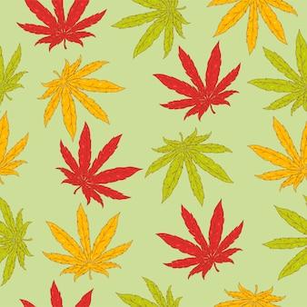 Modèle sans couture avec des feuilles de chanvre.