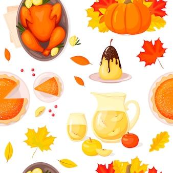 Modèle sans couture avec des feuilles de citrouille et d'automne et de la nourriture traditionnelle pour le jour de thanksgiving