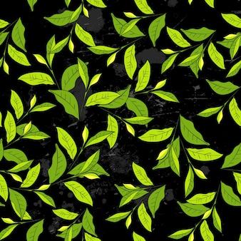 Modèle sans couture avec des feuilles dans le style vintage.