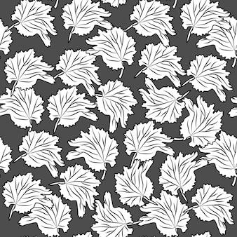 Modèle sans couture de feuilles dessinées à la main sur fond noir. feuilles monochromes style vintage gravé. toile de fond de style gravure. conception pour papier d'emballage, impression textile. illustration vectorielle
