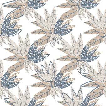 Modèle sans couture de feuilles dorées simples sur fond blanc. papier peint tropical dessiné à la main. conception pour tissu, impression textile, emballage. illustration vectorielle