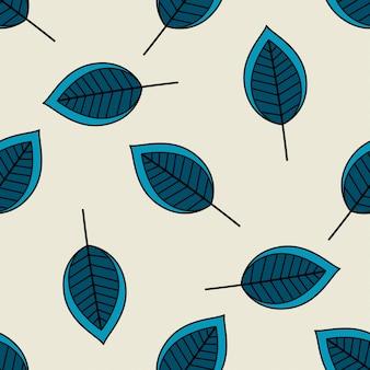 Modèle sans couture de feuilles éparses bleu