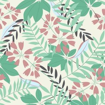 Modèle sans couture avec les feuilles et les fleurs aux couleurs pastel