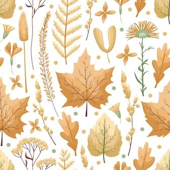 Modèle sans couture avec des feuilles et des fleurs d'herbier