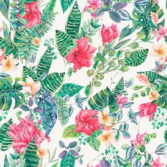 Modèle sans couture de feuilles et de fleurs tropicales