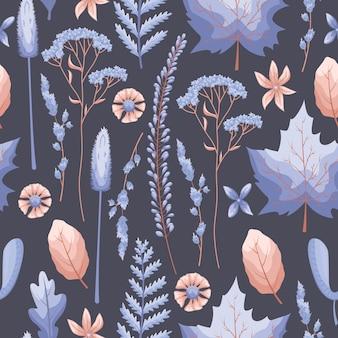 Modèle sans couture avec des feuilles et des fleurs