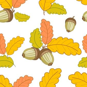 Modèle sans couture avec des feuilles et des glands