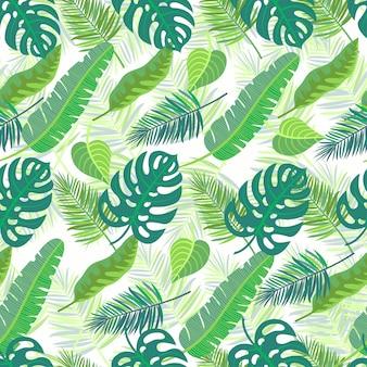 Modèle sans couture avec des feuilles de jungle tropicale