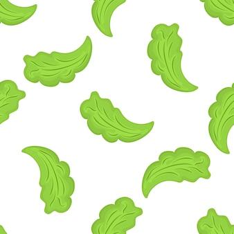 Modèle sans couture de feuilles de laitue. nourriture végétarienne biologique. utilisé pour les surfaces de conception, les tissus, les textiles, le papier d'emballage
