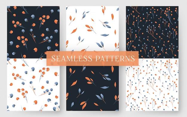 Modèle sans couture avec des feuilles modernes orange et bleu