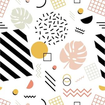 Modèle sans couture avec des feuilles de monstera exotiques, des formes géométriques de différentes textures et des lignes en zigzag