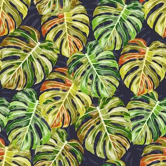 Modèle sans couture de feuilles monstera.
