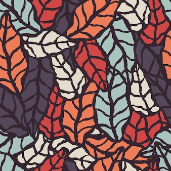 Modèle sans couture avec des feuilles naturelles dessinés à la main