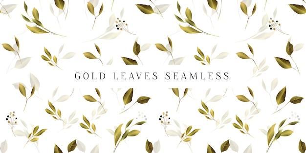 Modèle sans couture de feuilles d'or