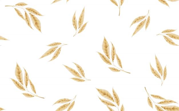 Modèle sans couture avec des feuilles d'or.