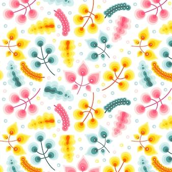 Modèle sans couture de feuilles organiques colorées