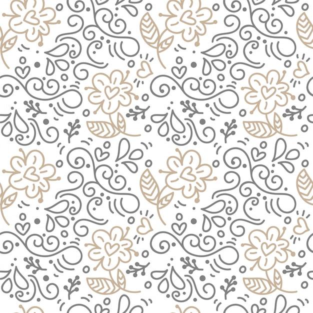 Modèle sans couture avec feuilles peintes à la main