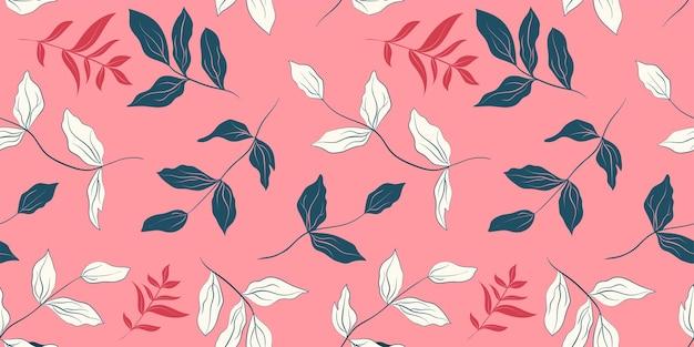 Modèle sans couture de feuilles de pivoine blanche et bleu foncé