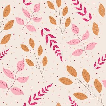Modèle sans couture avec des feuilles roses et oranges