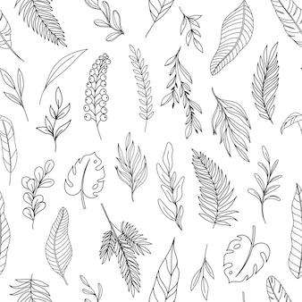 Modèle sans couture de feuilles tropicales d'art de ligne moderne. arrière-plan avec des feuilles hawaïennes de fougère de monstera de palmier forestier de contour dessiné. illustration vectorielle d'éléments tropicaux dessinés à la main.