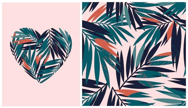 Modèle sans couture avec des feuilles tropicales et coeur sur fond rose