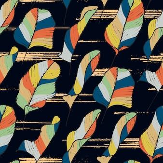 Modèle sans couture de feuilles tropicales dessinés à la main calathea avec couleur rétro