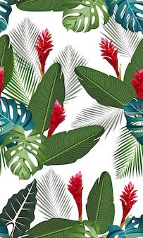 Modèle sans couture feuilles tropicales avec fleur de gingembre