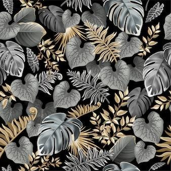 Modèle sans couture avec des feuilles tropicales foncées.