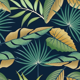 Modèle sans couture de feuilles tropicales sur fond sombre.