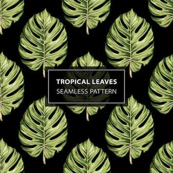 Modèle sans couture de feuilles tropicales monstera.
