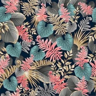 Modèle sans couture avec des feuilles tropicales sombres.
