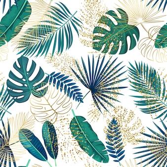 Modèle sans couture de feuilles tropicales vertes et dorées