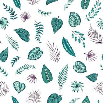 Modèle sans couture avec des feuilles tropicales vertes et violettes