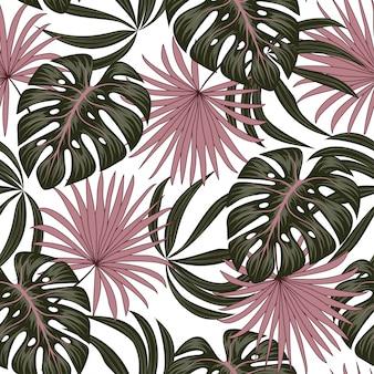 Modèle sans couture avec des feuilles tropicales.