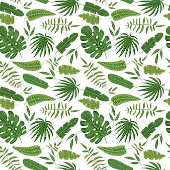 Modèle sans couture avec des feuilles tropicales