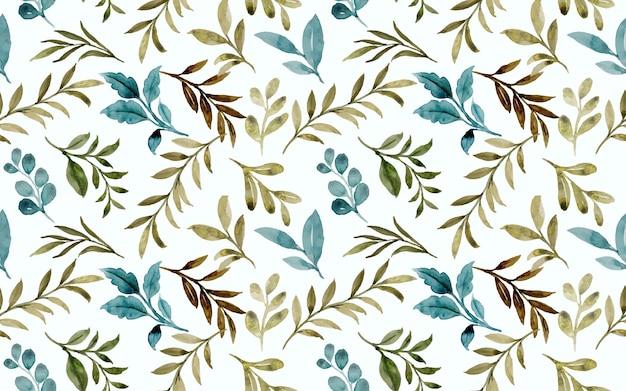Modèle sans couture de feuilles vertes à l'aquarelle